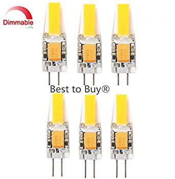 Best to Buy® (6-PACK)High quality Dimmable 1.8-Watt T4 G4 LED Bulb 12-30V AC/DC,1.8W Warm White Color, 360 degree lighting (Jc10 Bi-pin 12-18w Replacement)