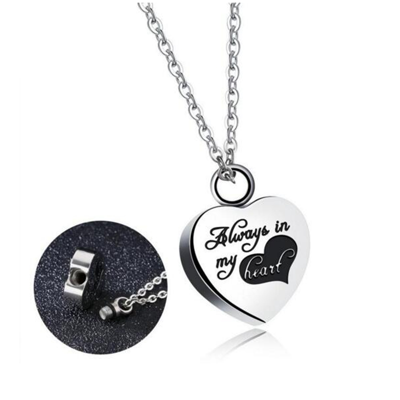Fashionable Stainless Steel Love Heart Necklace Memorial Cremation ...
