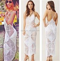 factory OEM custom handmade crochet maxi summer dress