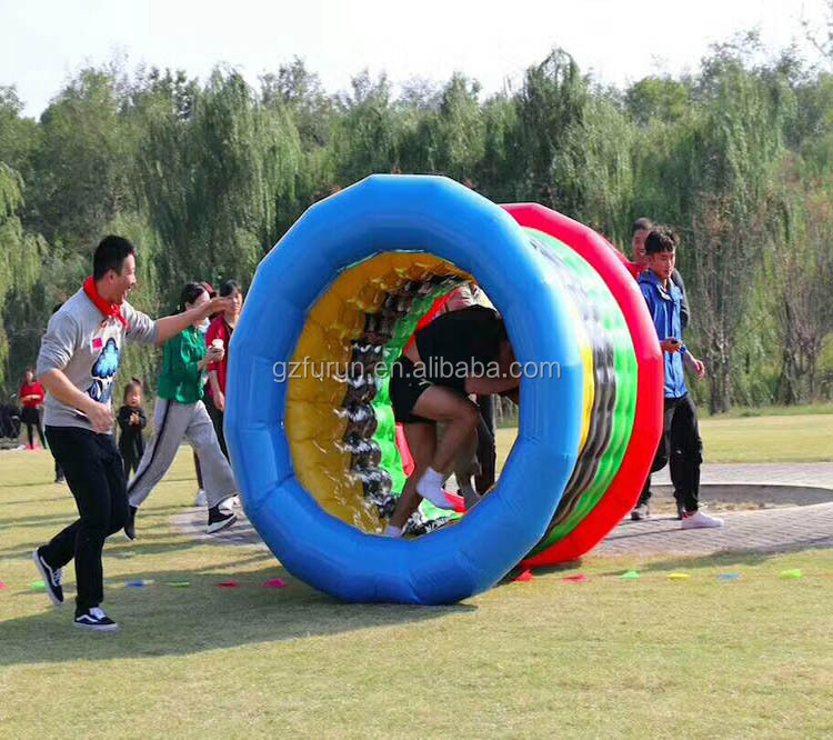 Team sports race inflatable grass fun roller ball