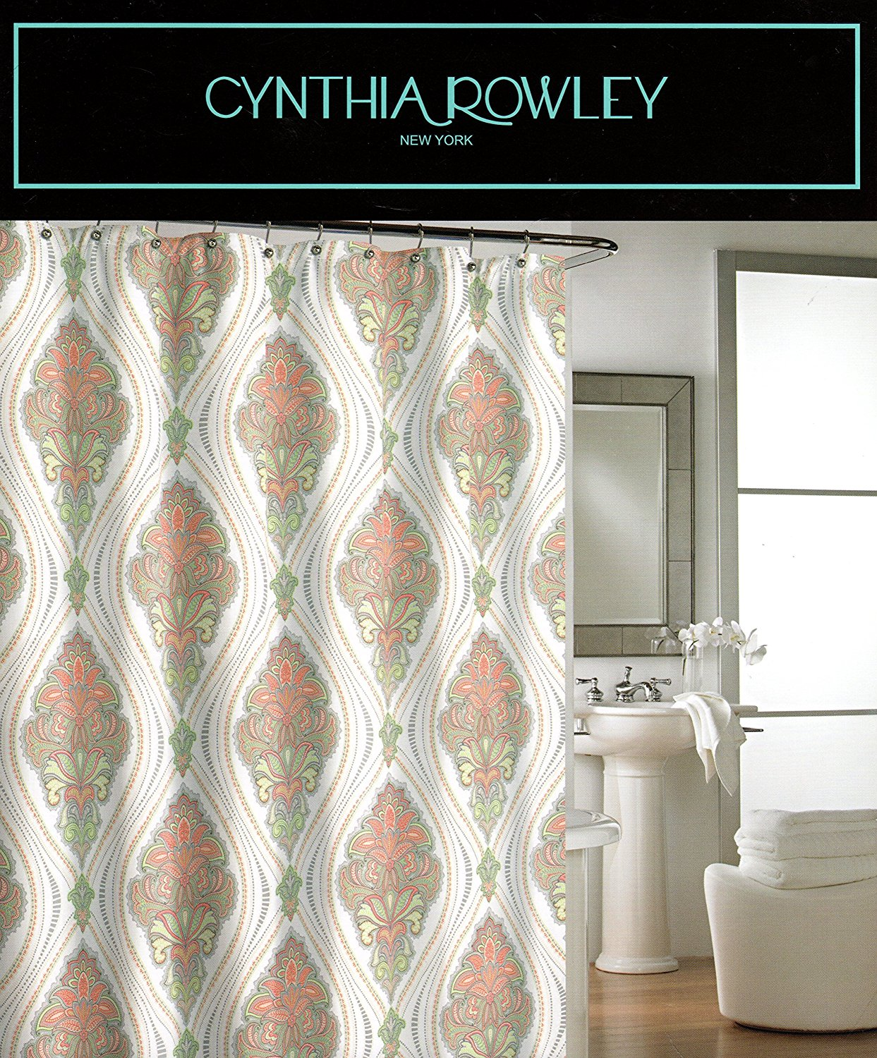 Cynthia Rowley Ornate Medallion Fabric Shower Curtain 72 Inch By 72 Inch Damask Floral Scrolls Shower Curtain Gray Orange Green Beige Grey White