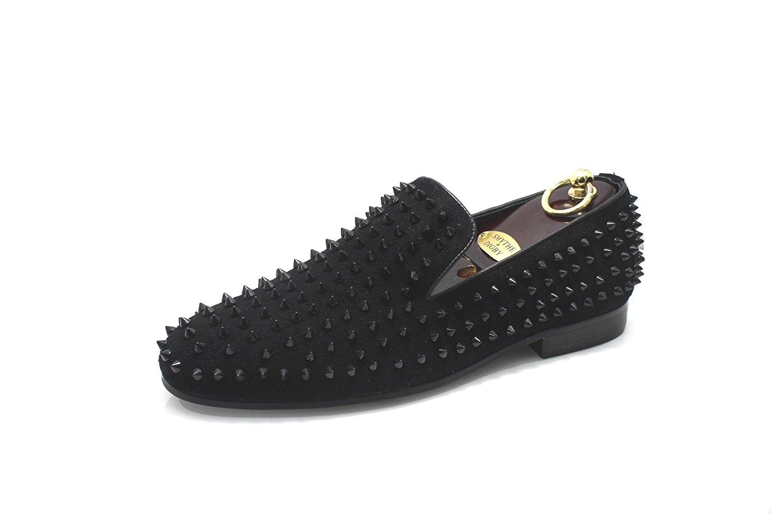 4927b2e73ecd Get Quotations · SMYTHE   DIGBY Men s Spiked Studded Black Leather Loafers