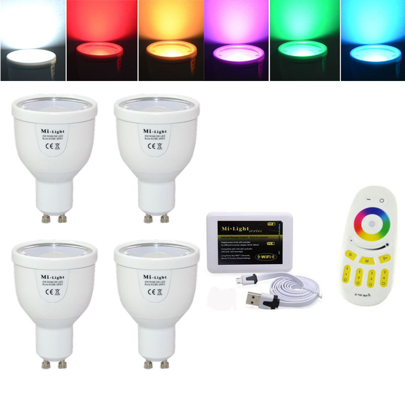 10pcs 4W 2.4G GU10 Mi light <strong>bulb</strong> with Remote control WIFI Hub RGBW Cool white LED Spotlight Free shipping