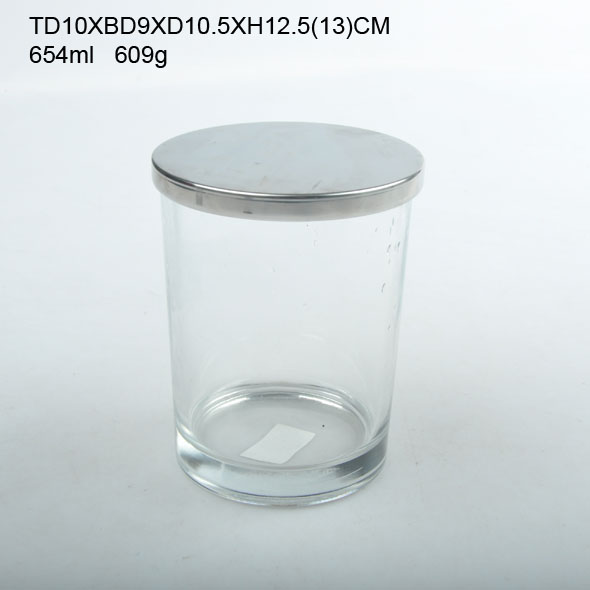 Wholesale FDA empty glass candle jars with metal lid