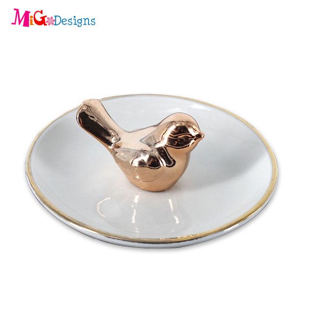 Venta al por mayor anillo de cerámica plato de esmalte de diamantes de imitación baratija plato bandejas para regalos de boda favores