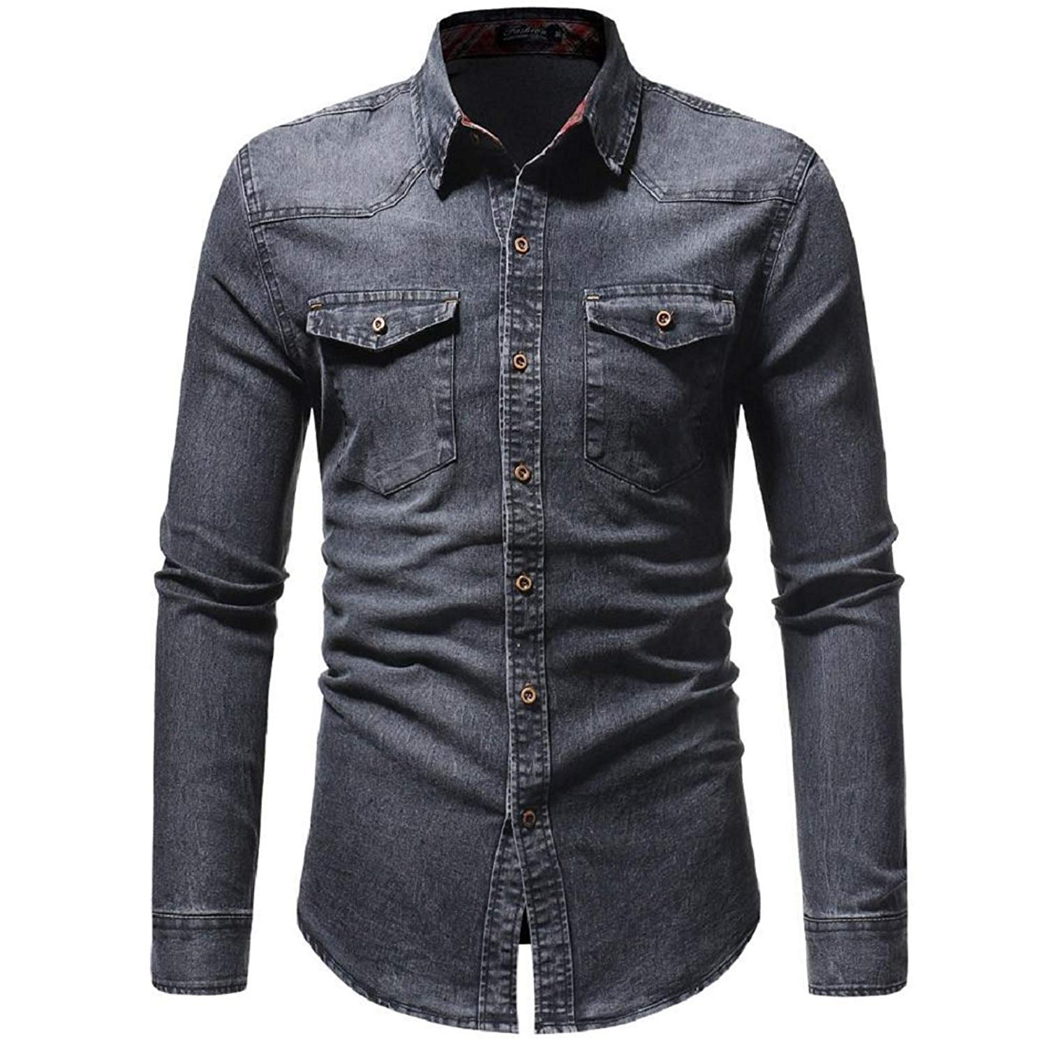b46bf9ba4 Get Quotations · GONKOMA Mens Shirts Men s Casual Long Sleeve Denim Shirt  Autumn Winter Vintage Slim Solid Top Shirt