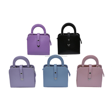 Characteristics Latest Metal Plate Brand Logo PVC Purple Evening sling Women Bag Handbag with Metal Trim