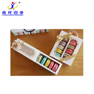 Customized color square white cheap macaron cake box for packing,embossing cheese cup moon tall paper box