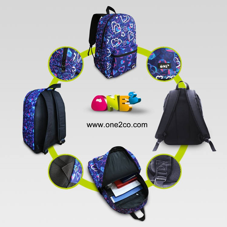 Baseball light blue girls travel school bag backpack for children students