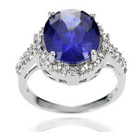 China wholesale engagement wedding ring with blue stone OSSR0187