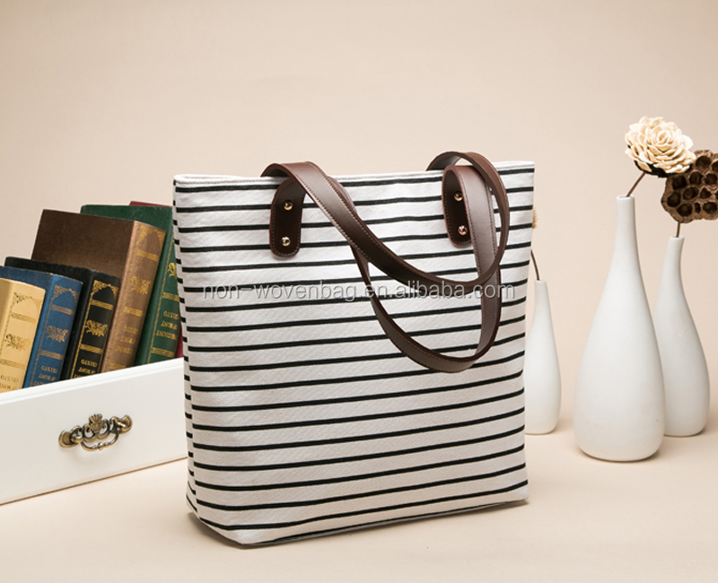 Hot selling promotional silk printed canvas tote shopping bag canvas tote bag leather handle