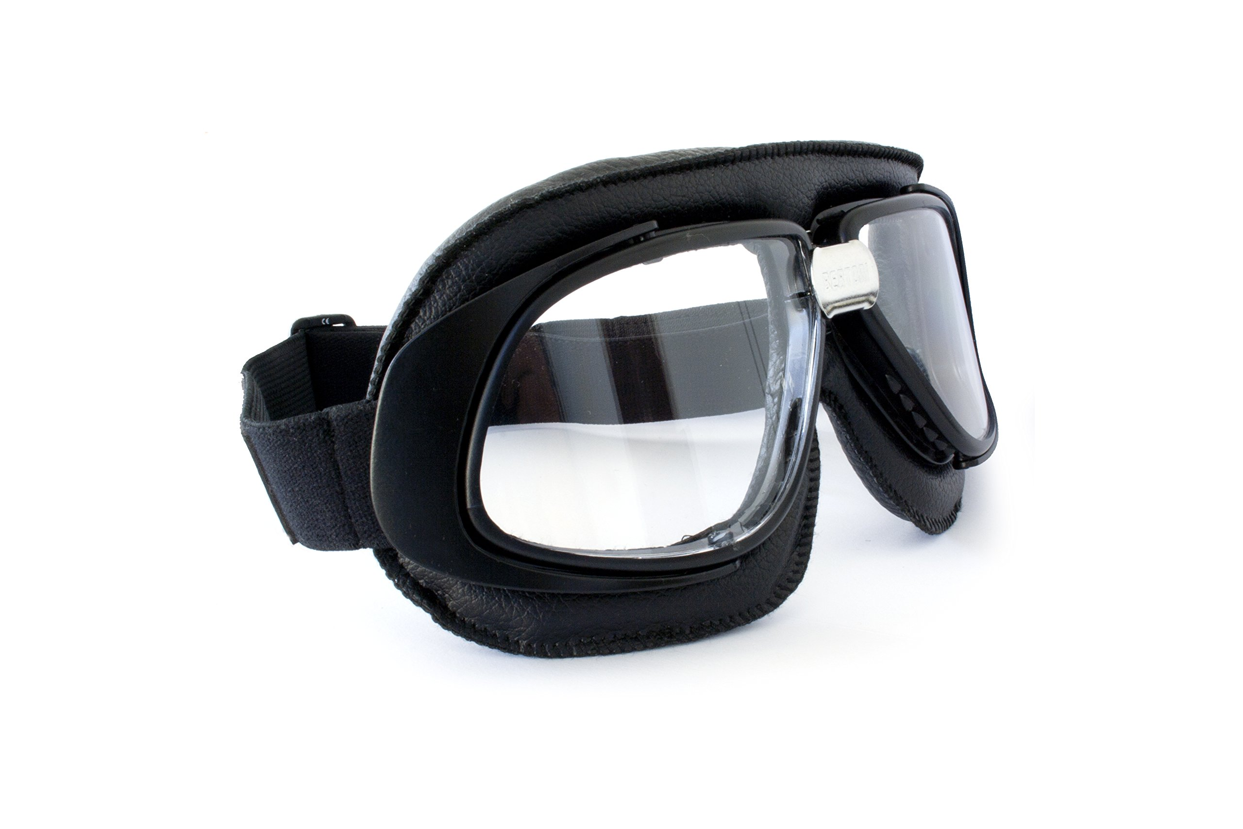 435e423b34a9 Vintage Motorcycle Goggles Black Leather with Antifog and Anticrash Lenses  by Bertoni Italy - AF190A Motorbike