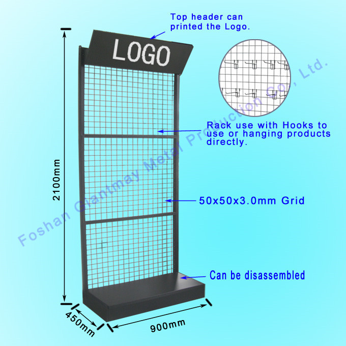 Customized Accessories Wall Wire Grid Metal Display Shelf Stand With ...
