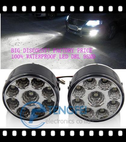 2x автомобиль автомобиль 9 из светодиодов круглый дневного света DRL день дальнего противотуманные фары для Audi Benz VW BMW Yamaha Honda Suzuki форд Chevy