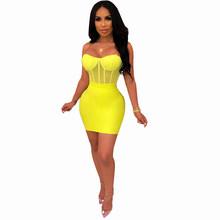 Echoine, сексуальный комплект из двух предметов на тонких бретельках, сетчатый укороченный топ + облегающее мини-платье, Женский комплект из дв...(Китай)