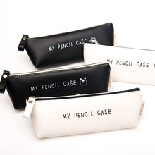 Best Deal Triangle My Pencil Case Classical Black And White Color Waterproof PU Leather Storage Cosmetic Bag H0009