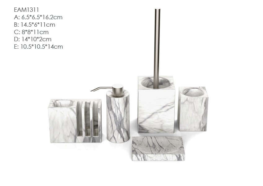 Stoneware Cement Wholesale White Resin Bathroom Accessories Set With Modern Design Buy White