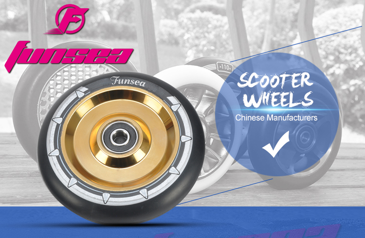 Aluminum alloy 6061 tire PU 88A 100mm 4 spokes freestyle street extreme kick scooter two wheel