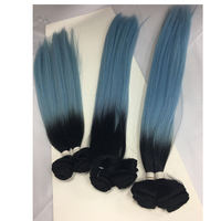 7pcs/pack blended human hair sew in synthetic hair blending