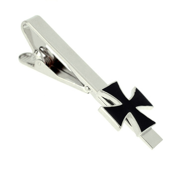 100% Factory Modern Personalized Black Metal Silver Cross Suit Tie Bar