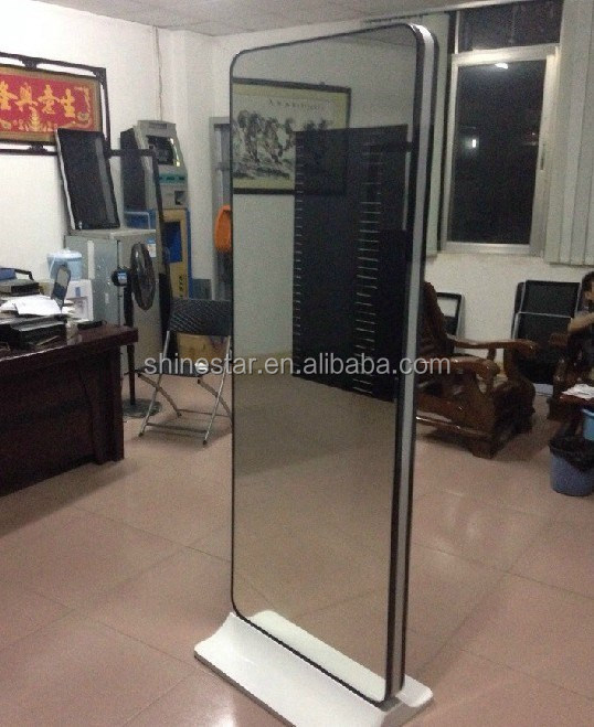 42 inch alone standing mirror surface advertising totem display with IR body sensor