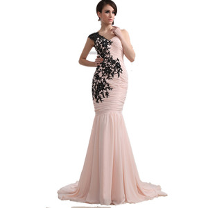 ED040 Pink Mother of Bride Dress With black Lace appliques One Shoulder Chiffon Elegant Mermaid Evening Dresses