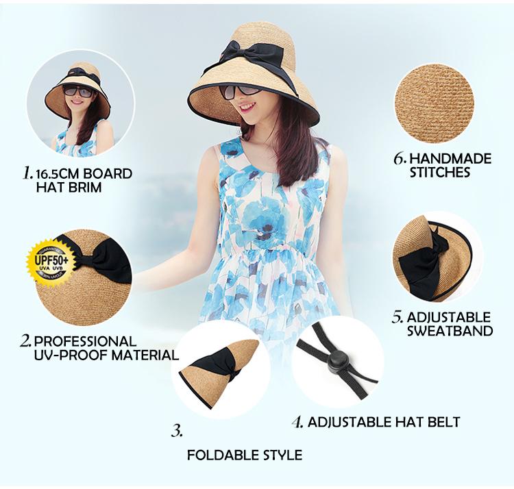 Verão Mulheres Chapéu de Sol de Aba Larga Atacado Senhora Crochê Chapéu de  Palha Praia 4632b8eb77
