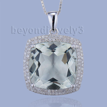 Charming solid 14k white gold cushion green amethyst pendant charming solid 14k white gold cushion green amethyst pendant necklacereal diamond green amethyst wedding aloadofball Image collections