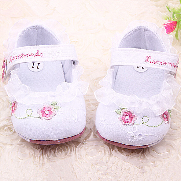New Cute Lace Princess Baby Shoes Girls Newborn Infant Dress White Flowers Summer Sandals Spring Autumn
