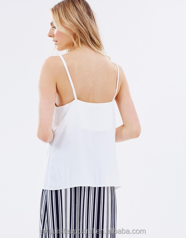 custom label v-neck white simple top wholesale cheap price slinky crepe top blouse 100% polyester silky simple cami top