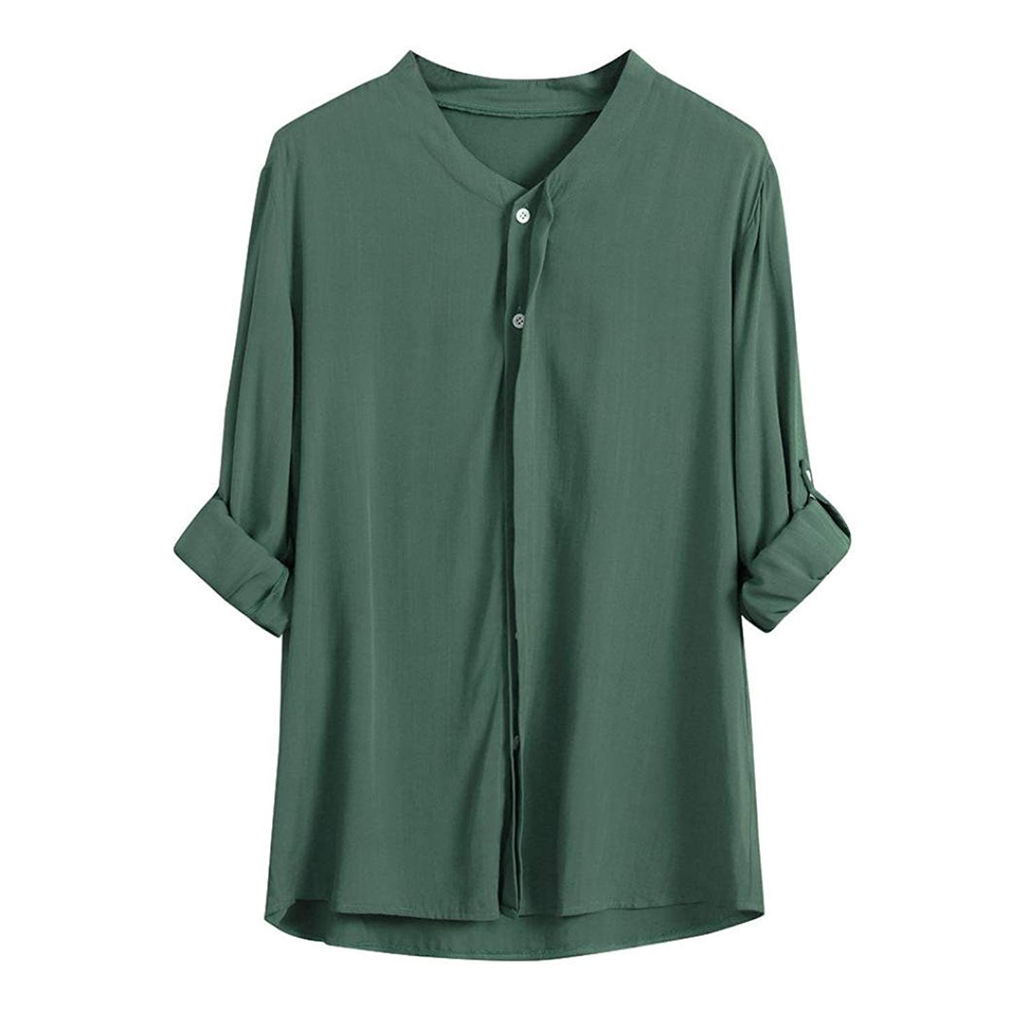 62025277 Get Quotations · Howstar Women's Casual T-Shirt Solid Color Blouse with Button  Shirts Loose Fit Plain T