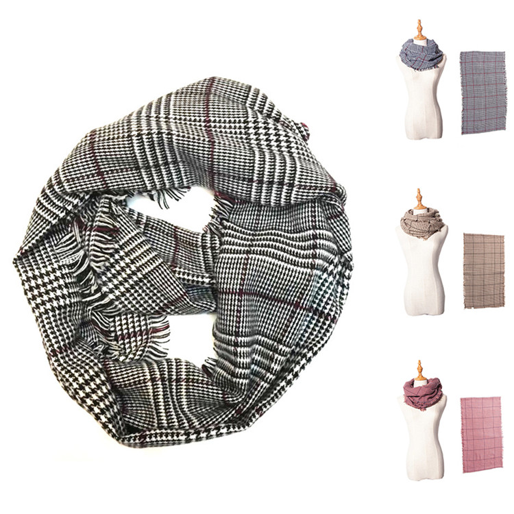 2019 New Stylish Large Check Pattern Women Woven Scarf For Sale