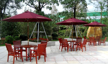 2.5M Red Wood Garden Parasol Umbrella market patio umbrella with pulley open