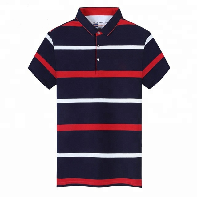 Good cheap price 200 grams 100% cotton oem stripes print style embroidered logo polo shirts for <strong>mens</strong>