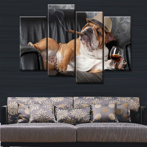 High Quality 5 panel Canvas Print Painting HD fat dog smoke Wall Decor Painting For Bedroom Decor