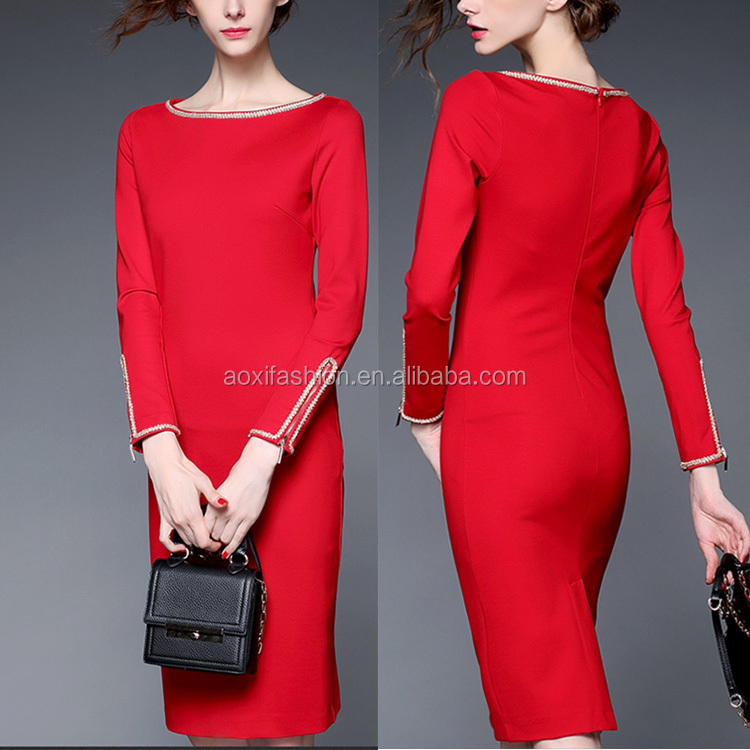 Wholesale Customer Made Women Fashion Dress 2016 Red Long Sleeve A-line Design Career Dress