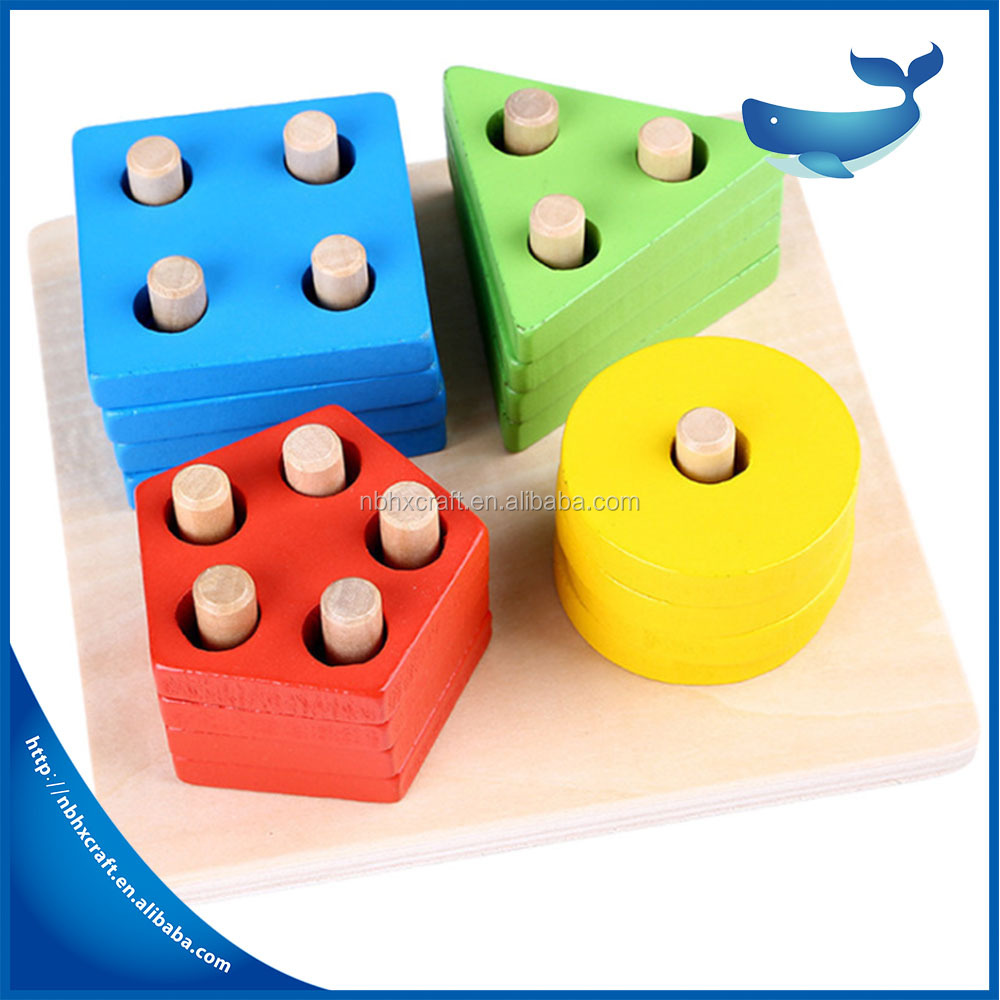 Puzzle Intelligence Classic Baby Toys Wooden Color Geometry Column Shape Sort Building Set