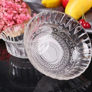 microwave safe clear dessert ice cream glass mixing bowl with stem