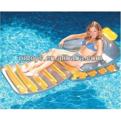 transparent PVC inflatable floating water counch with pillow,armrest