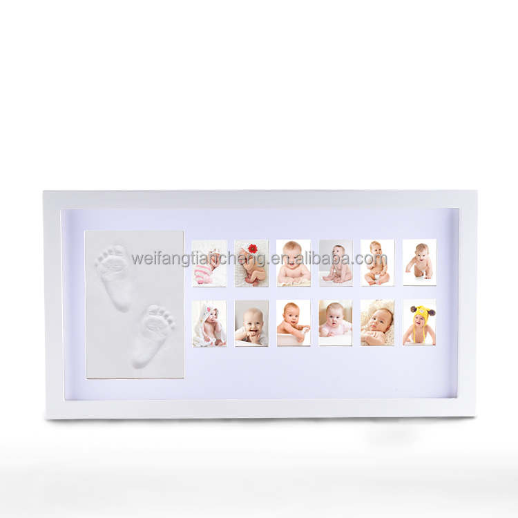 Baby Handprint Footprint Wood Photo Frame / Infant Baby Keepsake Box ...