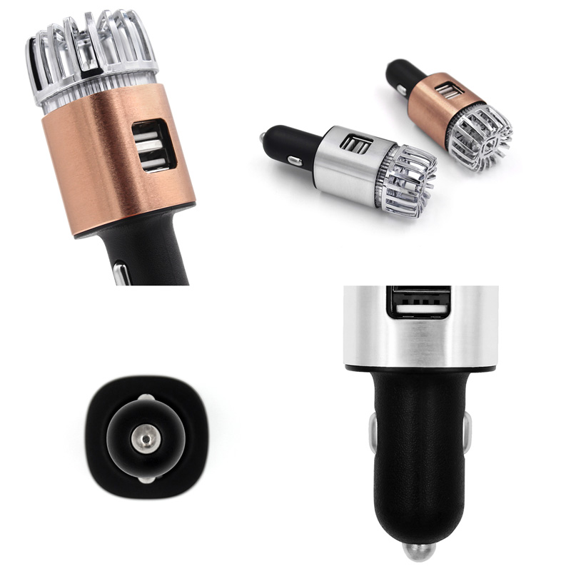 JO-6291 Portable Mini Ionizer Car Air Purifier 2-in-1 Dual USB Car Charger