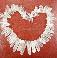 TB25 Clear Crystal Quartz Sticks Crystal Points Drilled Briolettes Beads 16 inch Strand 12-36 mm Long