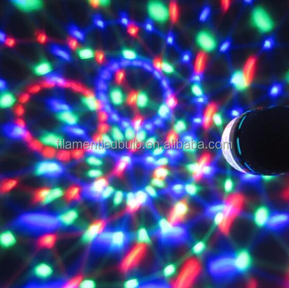 3W Plastic Energy Saving Head Rotating Led Decoration Disco Light RGB LED Bulb