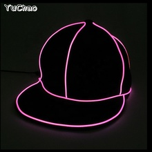 2018 New Legare di EL LED cappello Neon nero cappello hip <span class=keywords><strong>hop</strong></span> cappello Per Halloween Del Partito E la Decorazione di Nozze Serie Cosplay caps