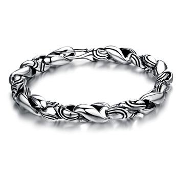 4bfb32222 Laatste oude look 925 sterling zilveren mannen antieke zilveren armband