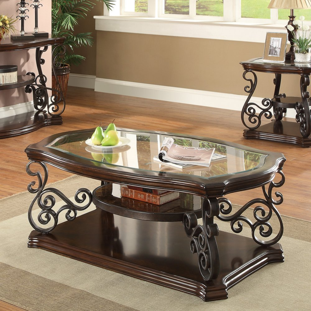 Coaster Occasional Group Traditional Dark Brown Coffee Table with Tempered Glass Top and Ornate Metal Scrollwork