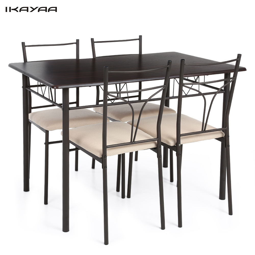Ikayaa 5pcs Modern Metal Frame Dining Kitchen Table Chairs Set For