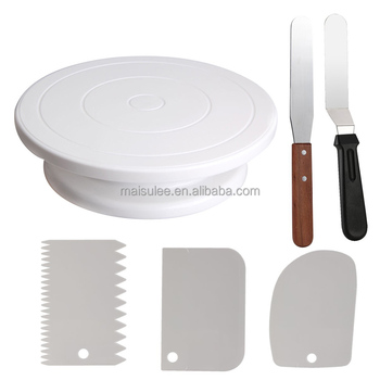 Wholesale 28cm white plastic cake decorating stand/rotating cake turntable with spatula and scraper