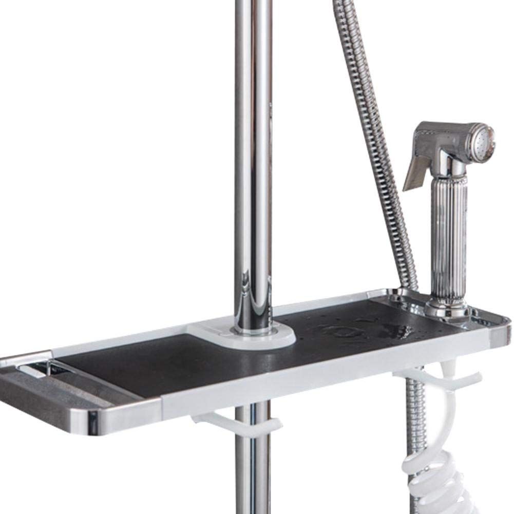 DZSJ Bathroom Punch-free Shower Sprinkler Lifting Poker Storage Rack Bathroom Multifunctional Soap Tray With Hook for Shampoo Shower Towel Toiletry - NO Drilling Wall Mounted