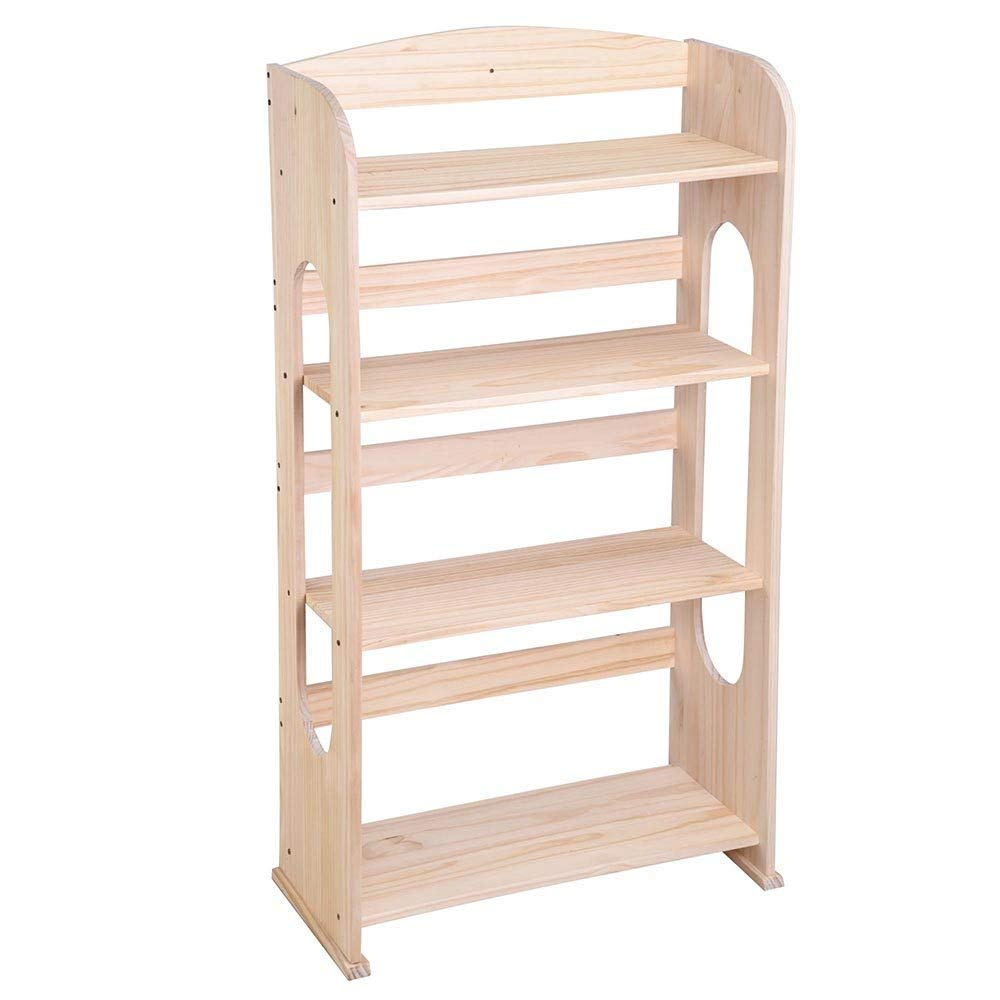LeeMas Inc 4 Tier Natural Wood Bookcase Bookshelf Hollow Out Storage Organizer Display Shelving Furniture Living Room Bedroom
